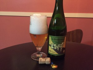 Hill Farmstead and Brasserie de Blaugies La Vermontoise poured into a tulip beer glass.