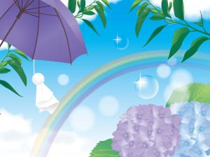 あじさい,虹,葉