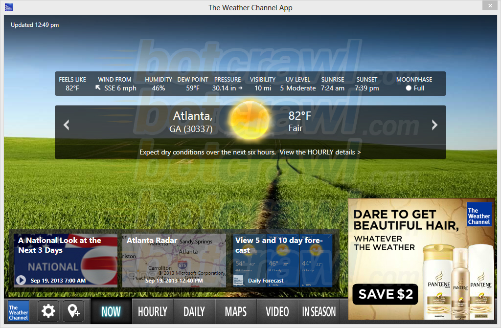 the weather channel app for windows 7 desktop