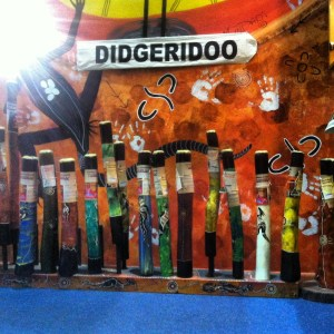 Didgeridoo: n. an Australian Aboriginal wind instrument in the form of a long wooden tube, traditionally made from a hollow branch, which is blown to produce a deep, resonant sound, varied by rhythmic accents of timbre and volume. (taken from Google dictionary)
