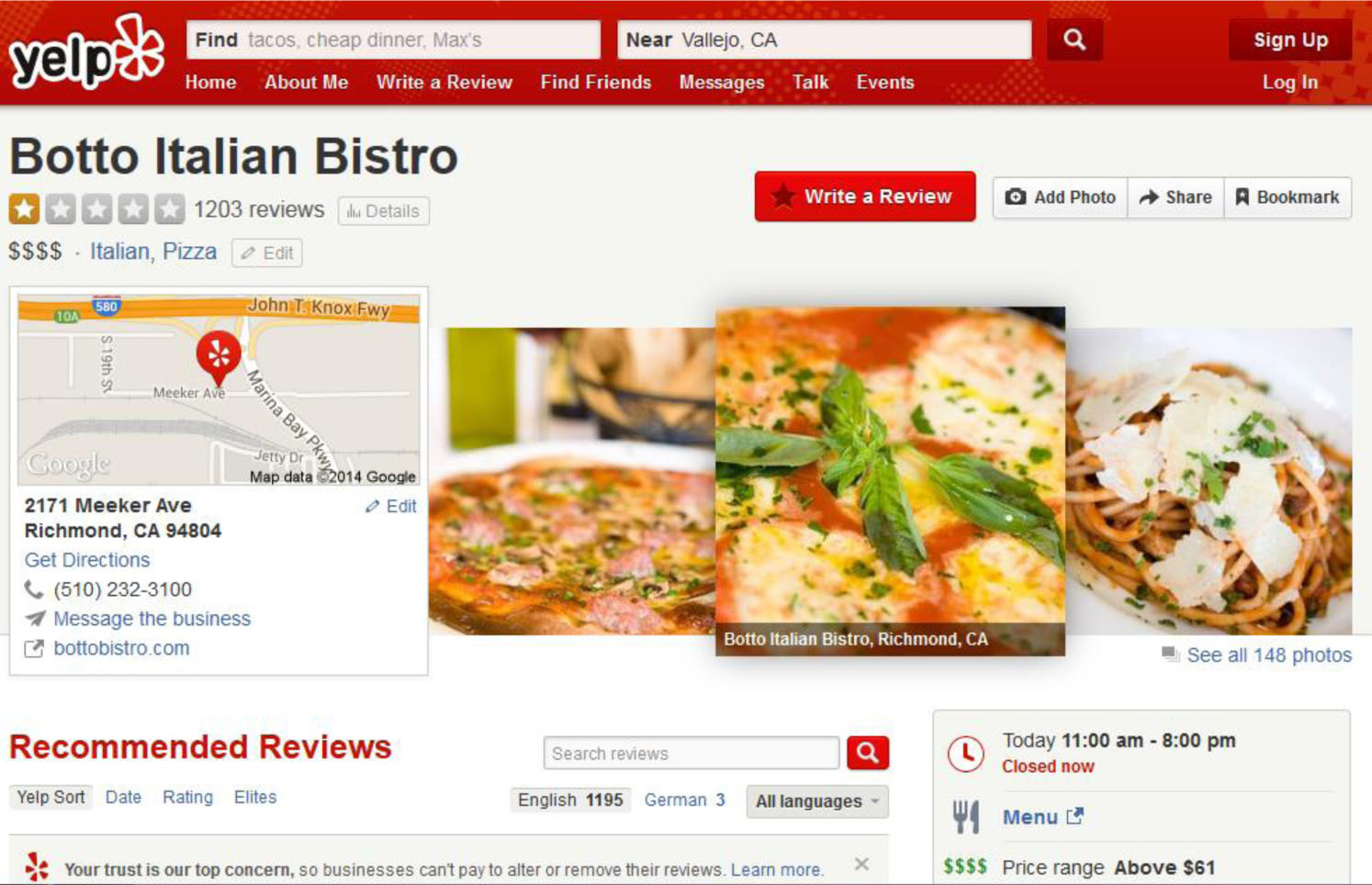 Bistro Italian Restaurant Index