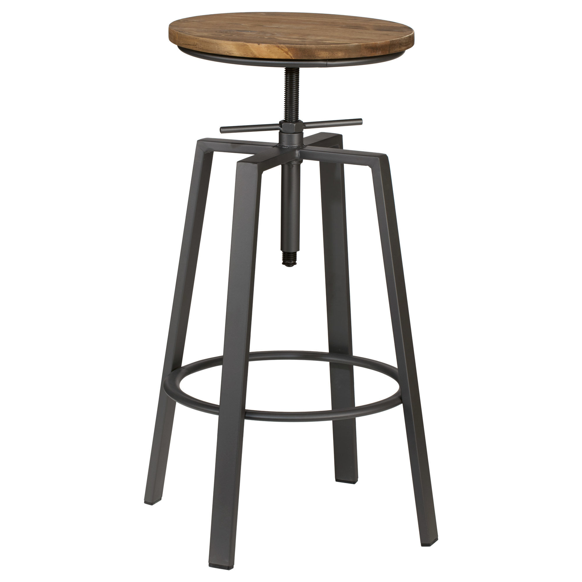 Wood And Metal Bar Stools Adjustable Solid Elm Wood And Gun Metal Bar Stool