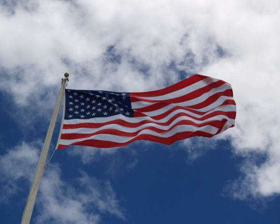 The American Flag which flies above the Memorial