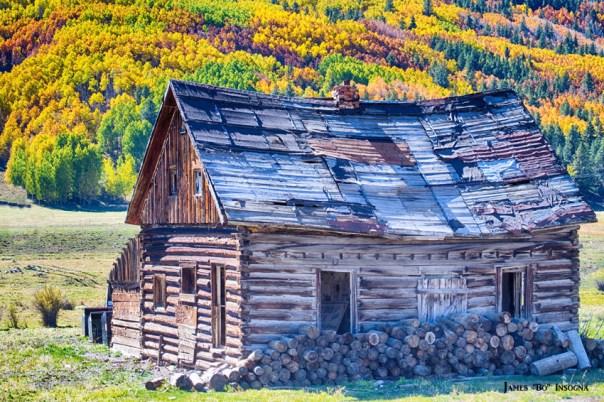 Rocky Mountain Rural Rustic Cabin Autumn View