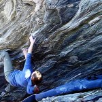 Jessa Goebel on Tsunami low 7c+ Moore's Wall
