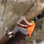 Chris Schulte climbing 8B boulder problems in Brione, Switzerland