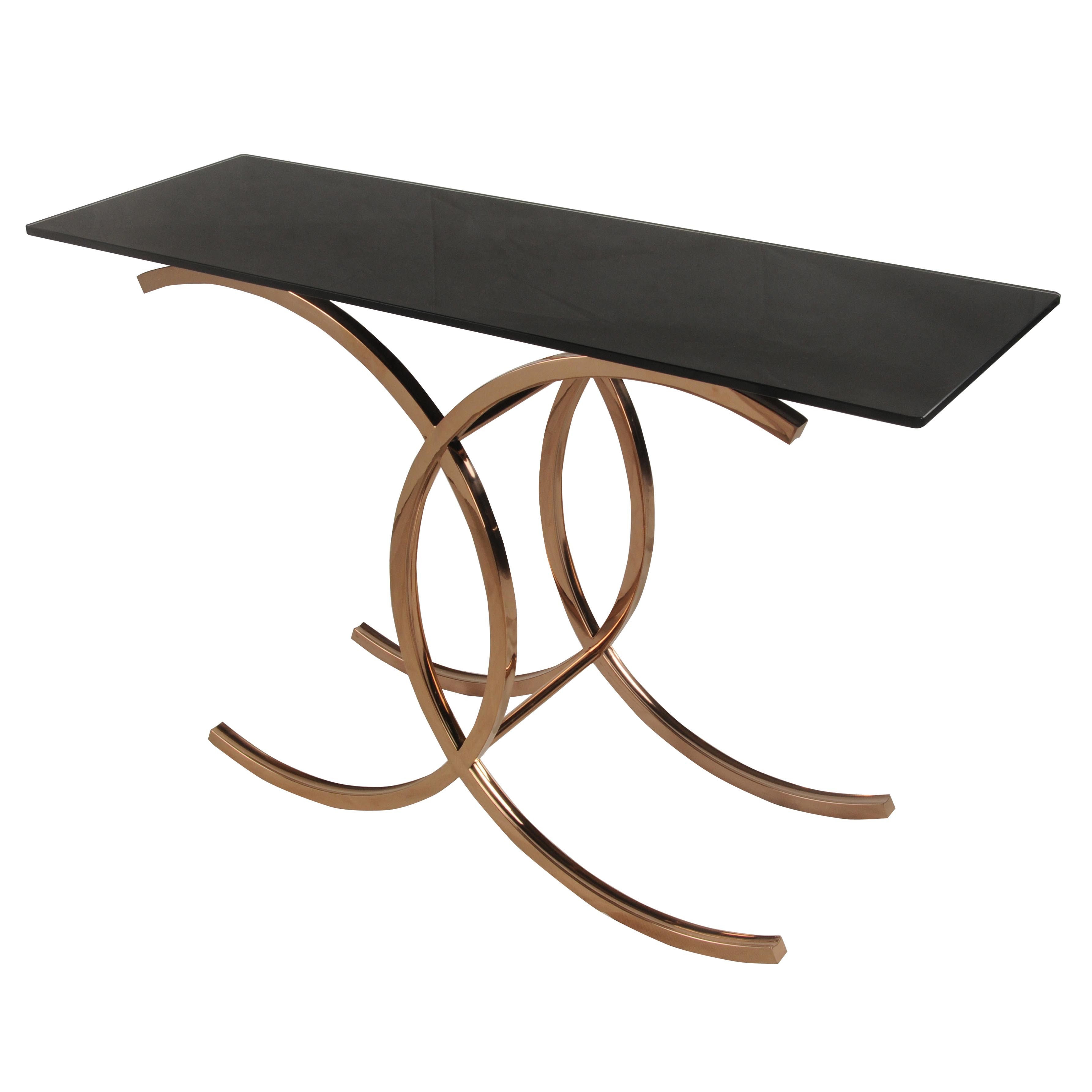 Glass Top Console Table Ignacio Console Table Black Glass Top Rose Gold