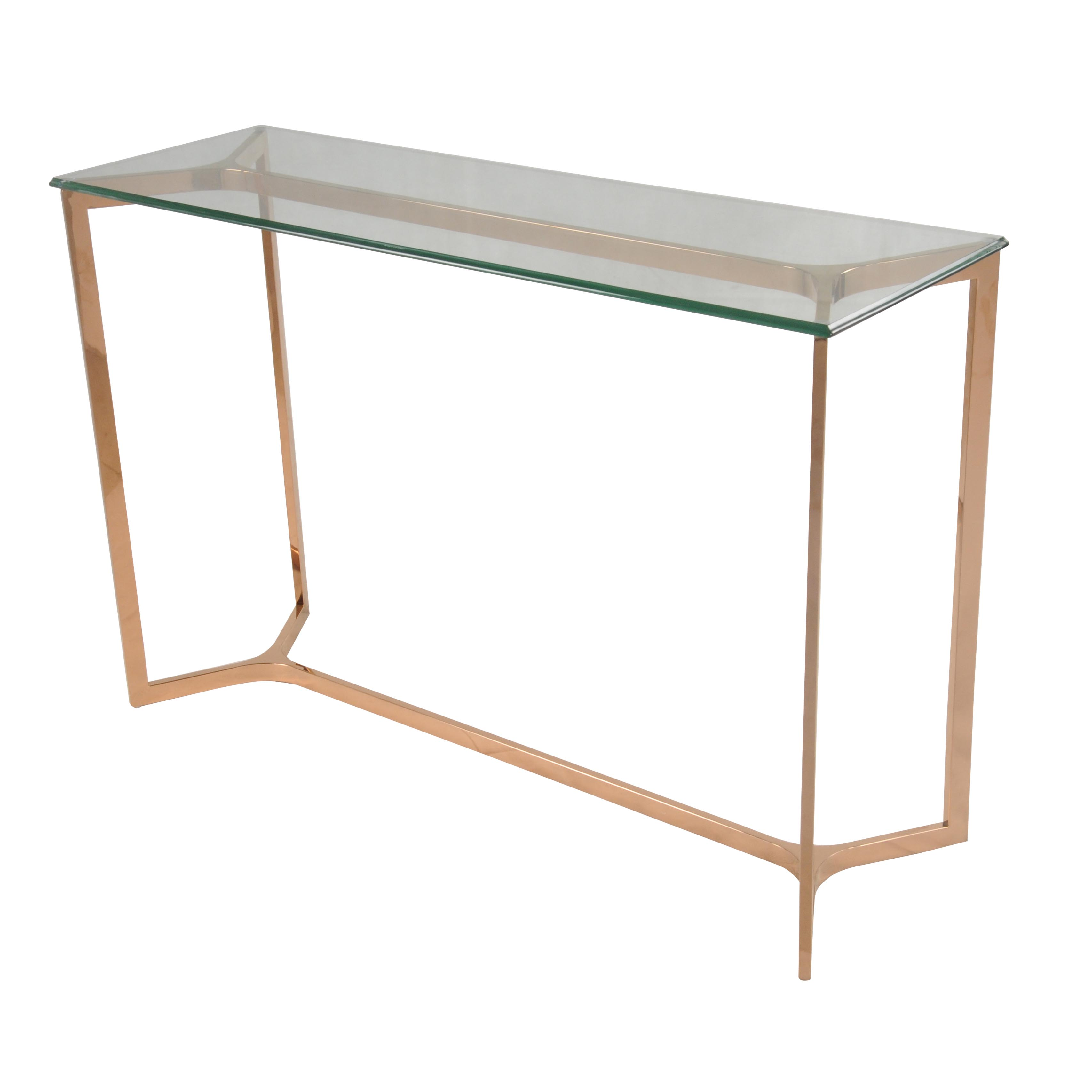 Glass Top Console Table Monza Console Table Glass Top Rose Gold