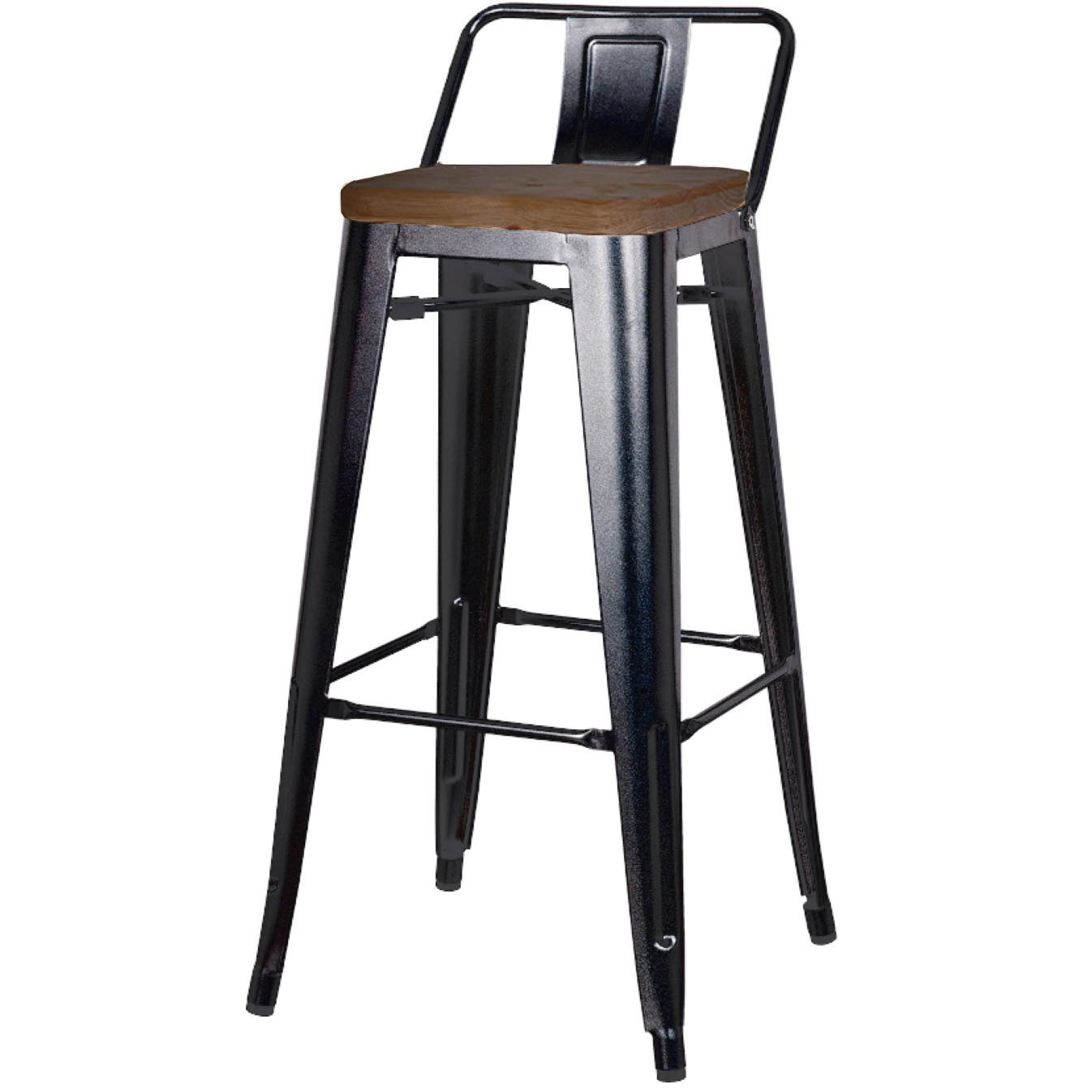 Industrial Bar Stools With Backs Metropolis Low Back Counter Stool Wood Seat Black