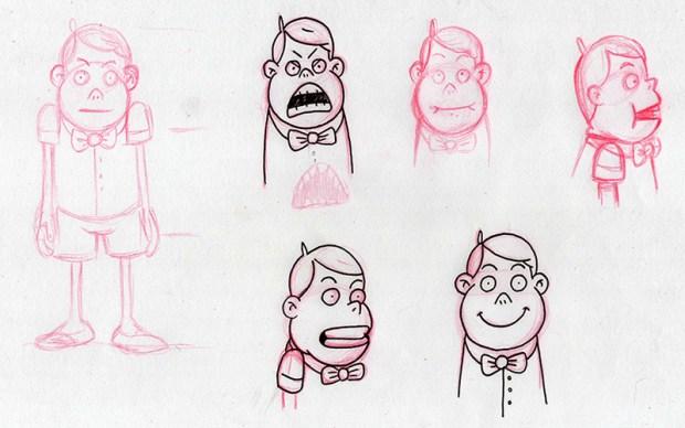 Bocetos del personaje animado