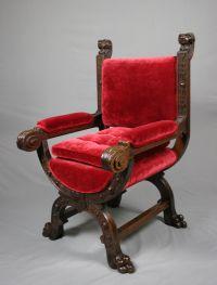 Antique Victorian Gothic Revival Oak Throne - Antique ...