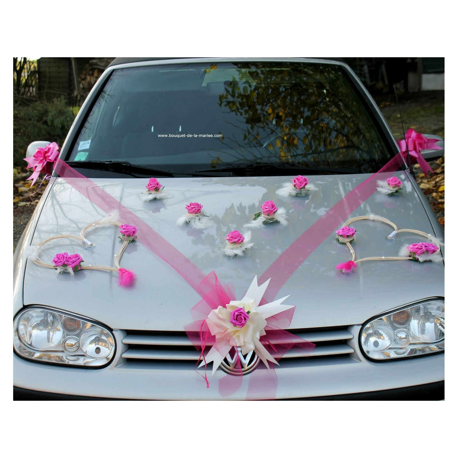 Decoration Mariage Voiture Tulle Décoration Voiture Mariage Coeurs Tulle Ruban Fuchsia