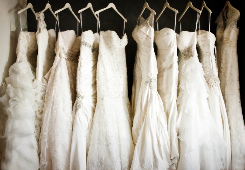 Wedding Dresses Hanging Up