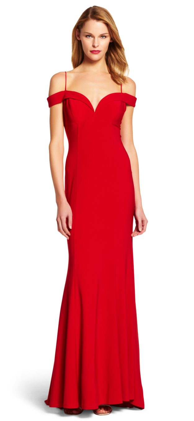Off the Shoulder Jersey Mermaid Gown - Adrianna Papell