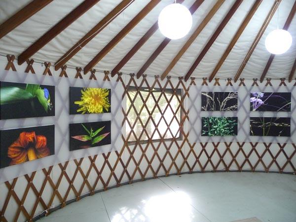 yurt interior with art