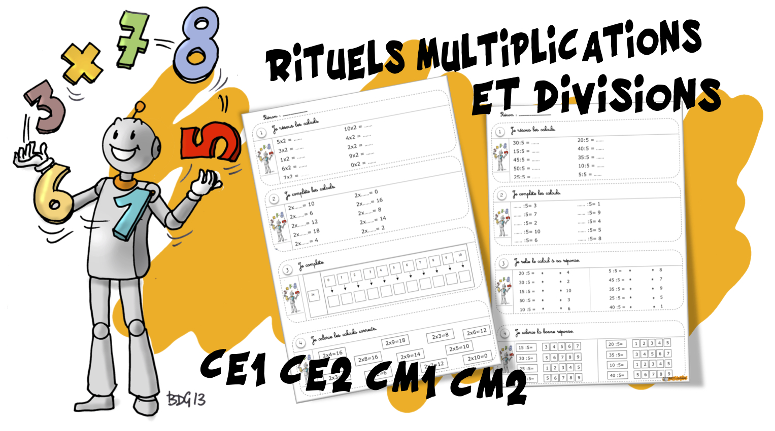 Jeu Table De Multiplication Ce1 Rituels Maths Multiplications Et Divisions Bout De Gomme