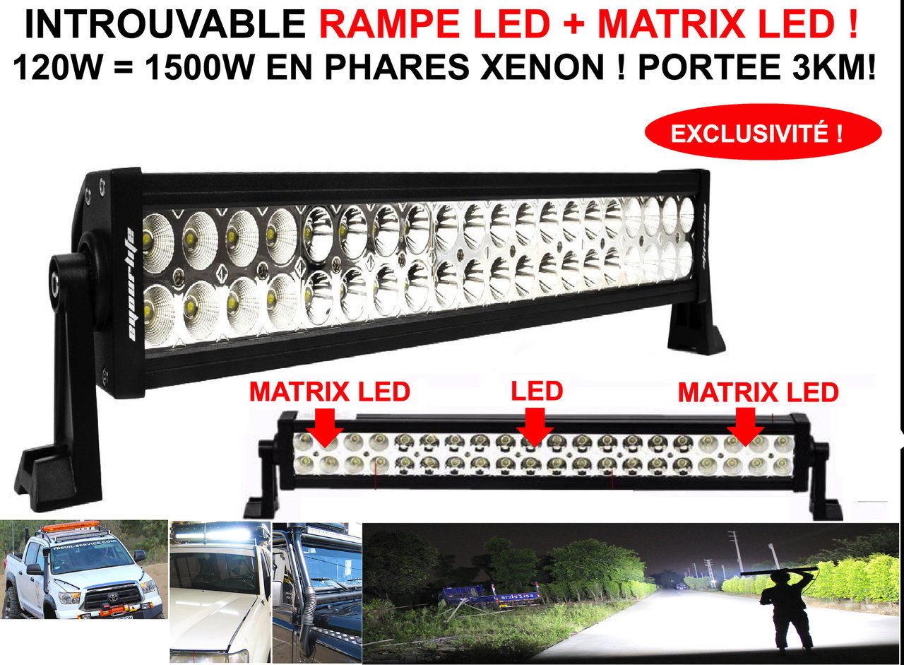 Eclairage Led 4x4 Exclusivité Barre Rampe De Phare Led 43 Matrix Led 120w