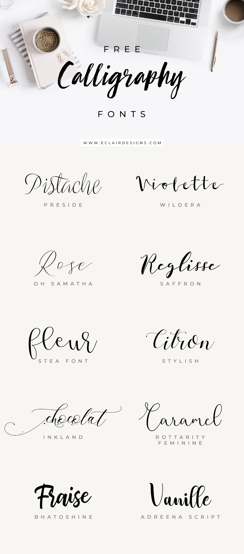 Calligraphy Fonts List Eclair Designs 10 Free Calligraphy Fonts