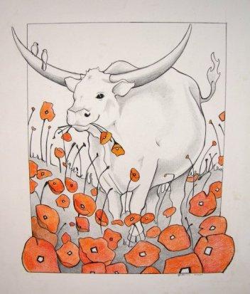 Bull in Flowers