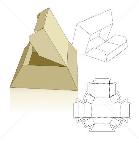 Pyramid base carton box template Corrugated and folding carton box
