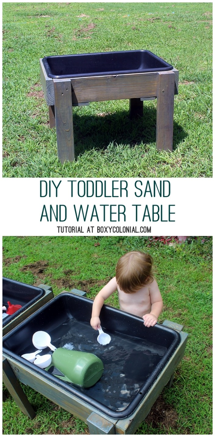 Diy toddler water table from recycled wood the backyard for Diy sand and water table pvc