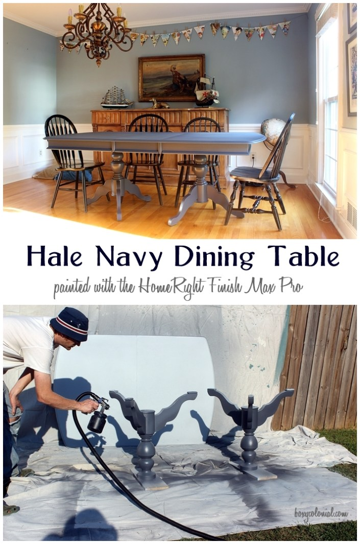 Dining room table painted in Benjamin Moore's Hale Navy