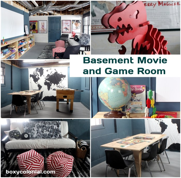 A Movie and Game Room for the basement: see how the room went from unfinished space to great teen or kid hangout space on a tight budget. Lots of DIY projects!