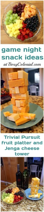 Easy, healthy snacks for your family game night: Jenga cheese tower and Trivial Pursuit game piece fruit platter