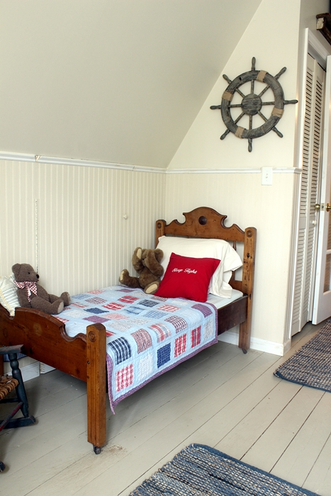 toddler bed in nautical nursery