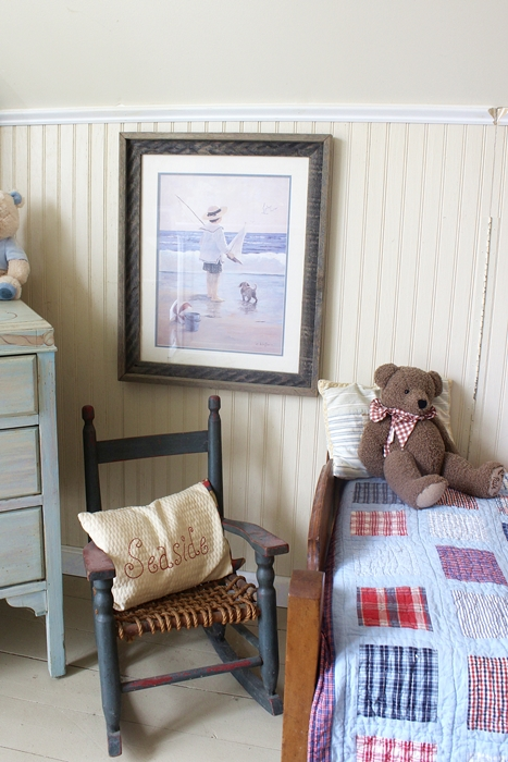 rocking chair and seaside print in kids' Nantucket room