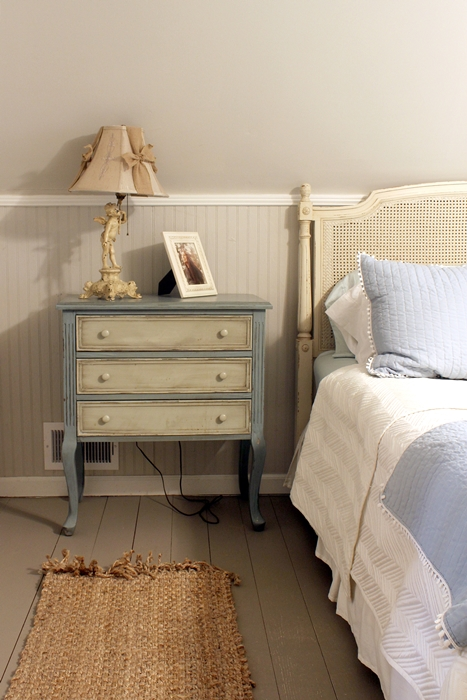 bedside table in A-frame cottage