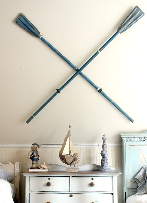 old oars on wall