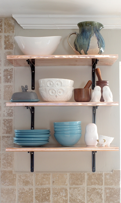 diy copper shelves for the kitchen