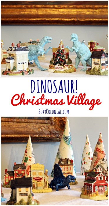 Christmas villages are more exciting when they're being invaded by dinosaurs