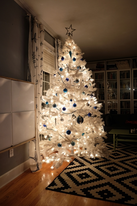 white christmas tree at night