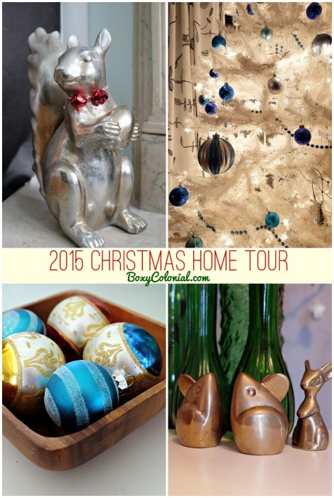 Boxy Colonial's 2015 Christmas Home Tour: lots of vintage finds and quirky touches. And dinosaurs.