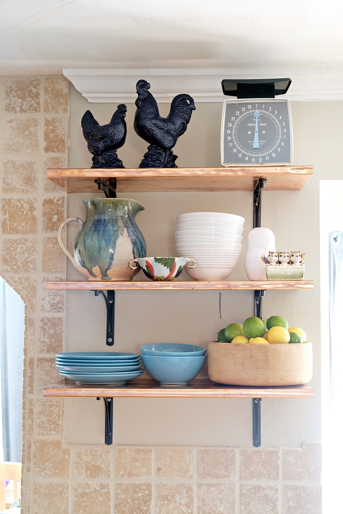copper shelves decorated for spring
