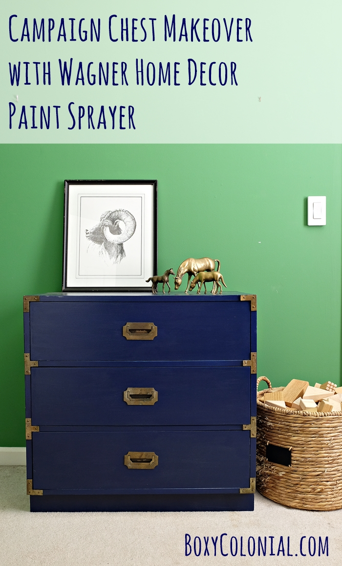 Tutorial for vintage campaign chest makeover using a Wagner Home Decor paint sprayer #ad