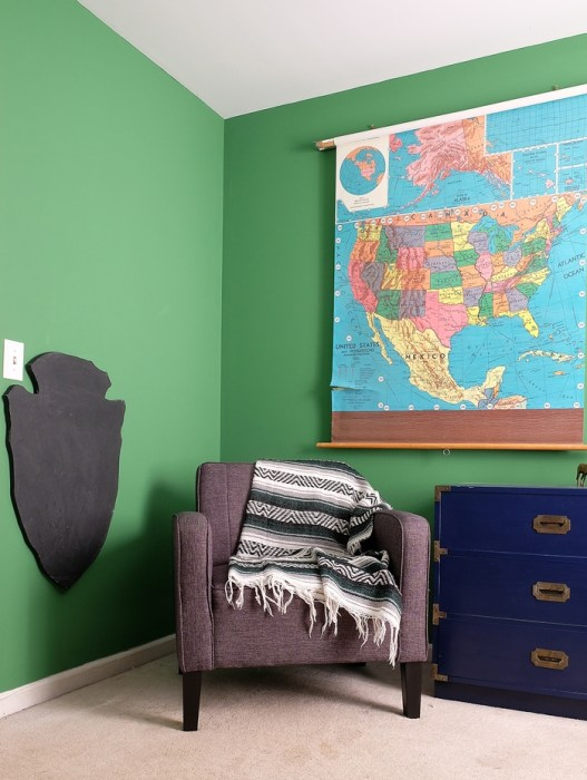 Abe's National Parks room with pull down vintage map and diy chalkboard