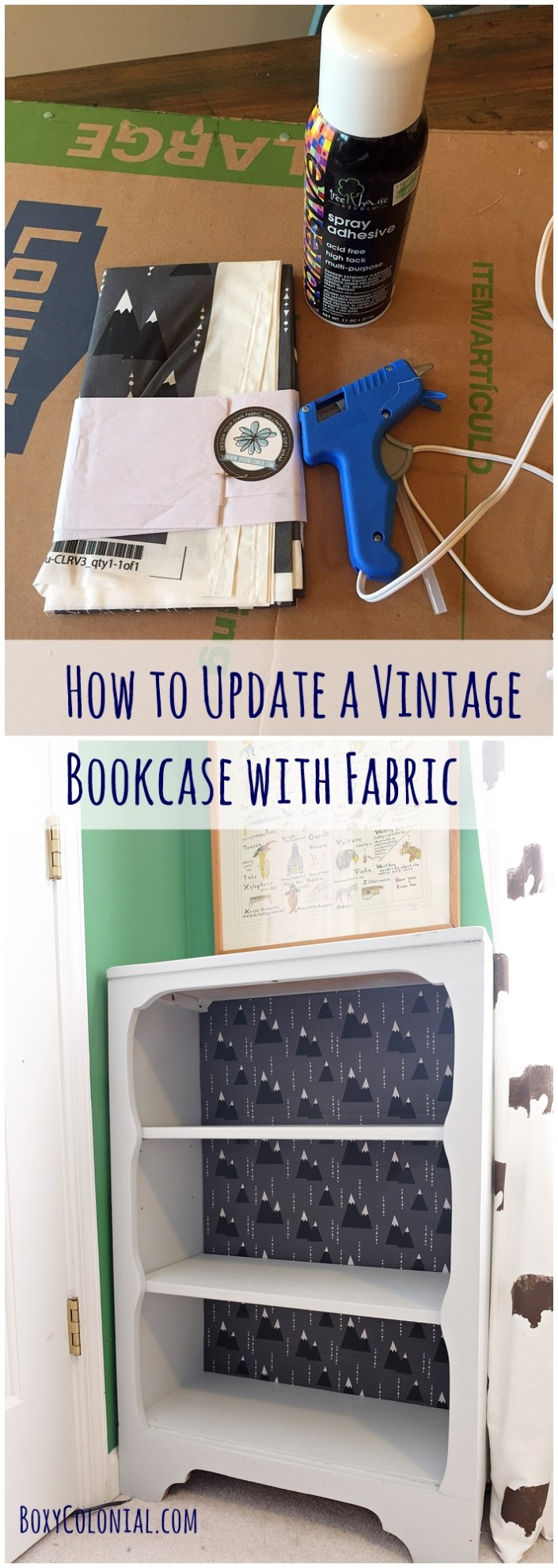 Updating a vintage bookcase with fabric from Spoonflower: full photo tutorial