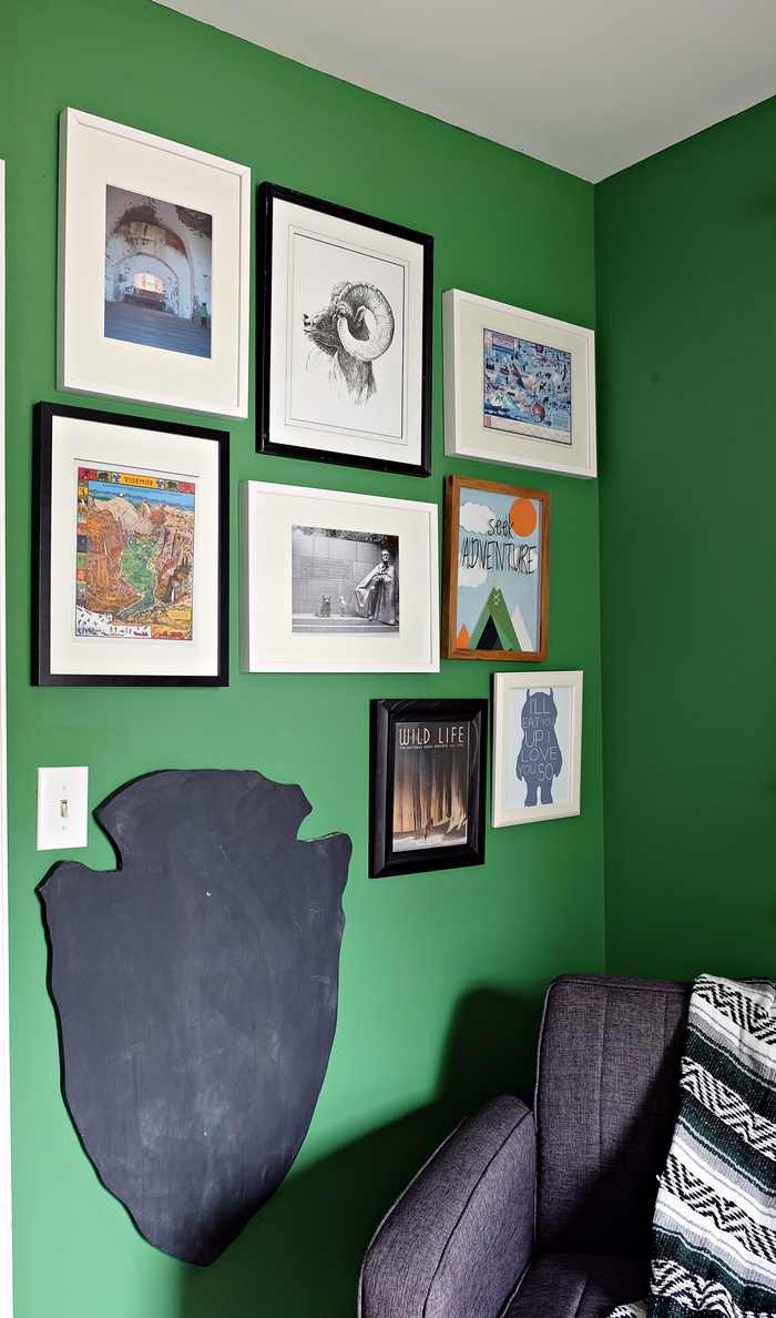 national parks gallery wall with two great sources for free printables for kids' rooms