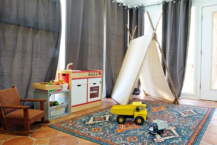 sunroom with new rug