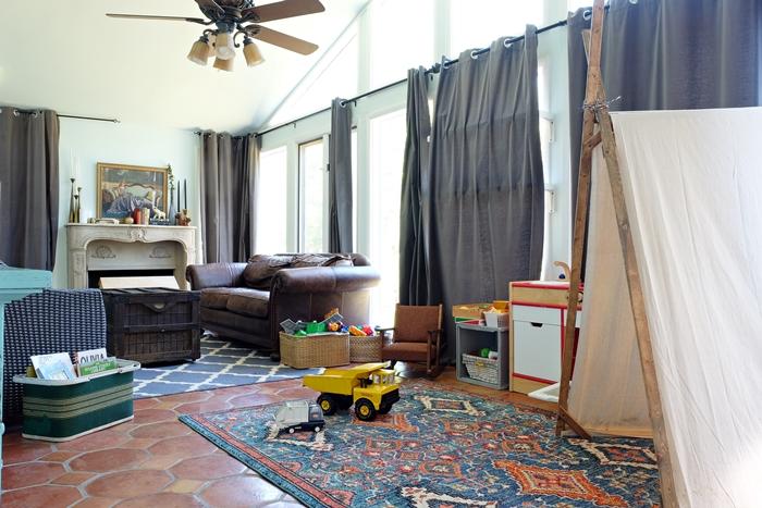 sunroom with play area
