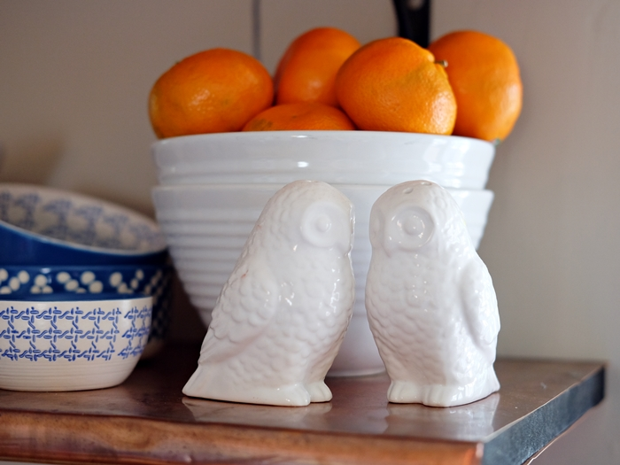 Boxy Colonial Spring Home Tour: owl salt and pepper shakers