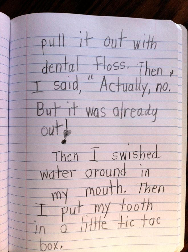 Page 2 of Rosie's lost tooth story.