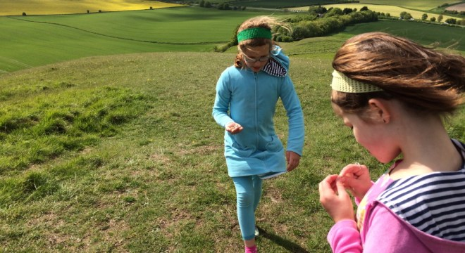 Lucy and Rosie collect snails in Wiltshire.