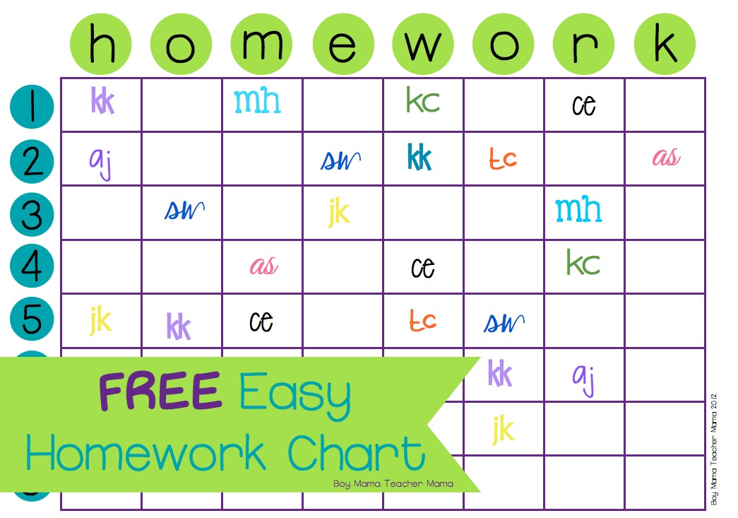 Teacher Mama FREE Easy Homework Chart - Boy Mama Teacher Mama - Free Chart