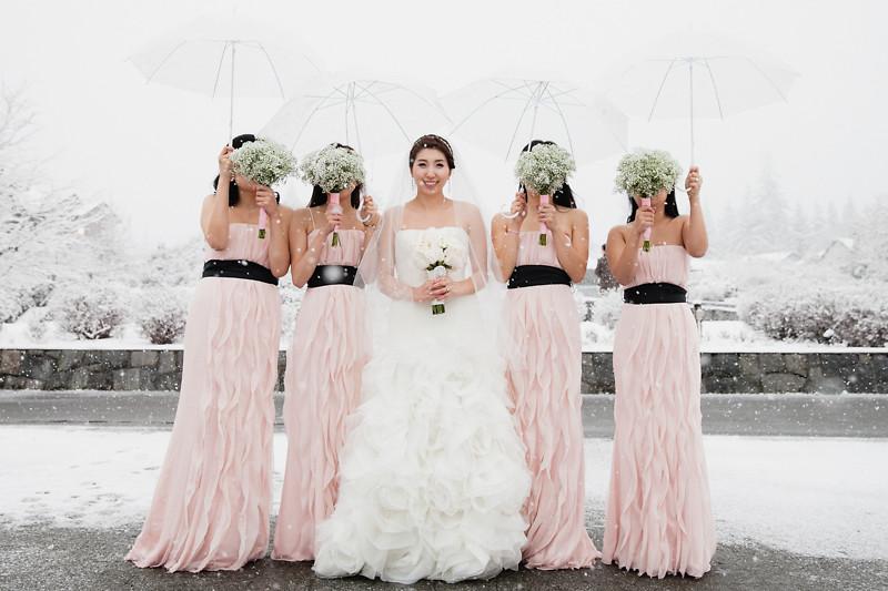 bridesmaid in snow