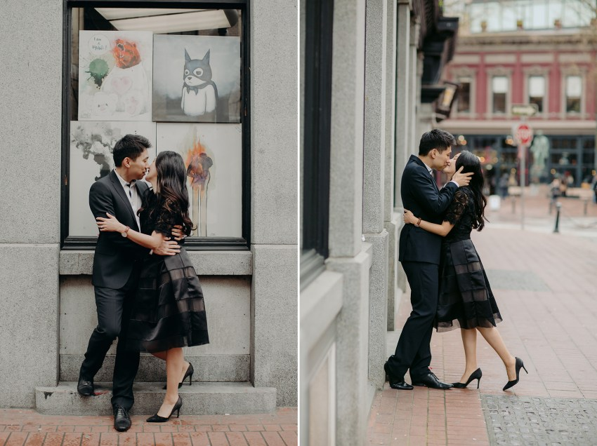 couple kissing in gastown