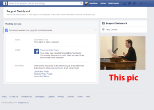 False accusation and reporting of nudity on Facebook